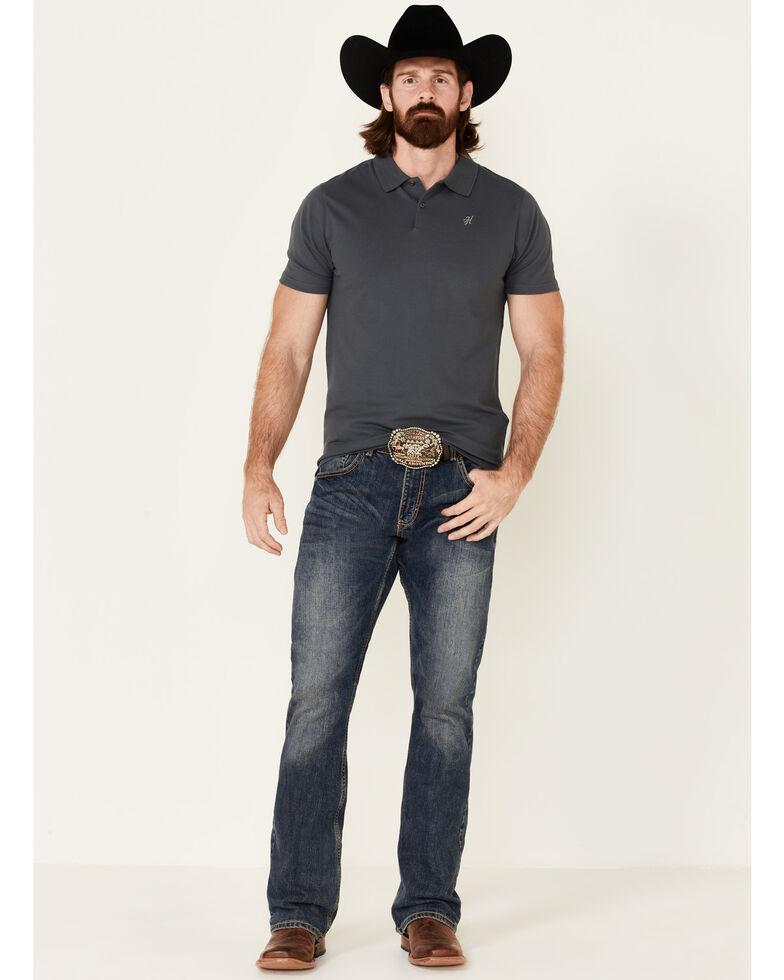 HOOey Men's Solid Charcoal Maverick Short Sleeve Polo Shirt  , Charcoal, hi-res