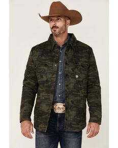 Rock & Roll Denim Men's Camo Print Twill Puffer Snap-Down Shirt Jacket , Olive, hi-res