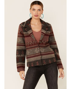 Cotton & Rye Outfitters Women's Jacquard Blazer, Wine, hi-res