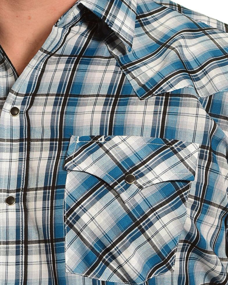 Ely Cattleman Men's Teal Textured Plaid Western Shirt , Teal, hi-res