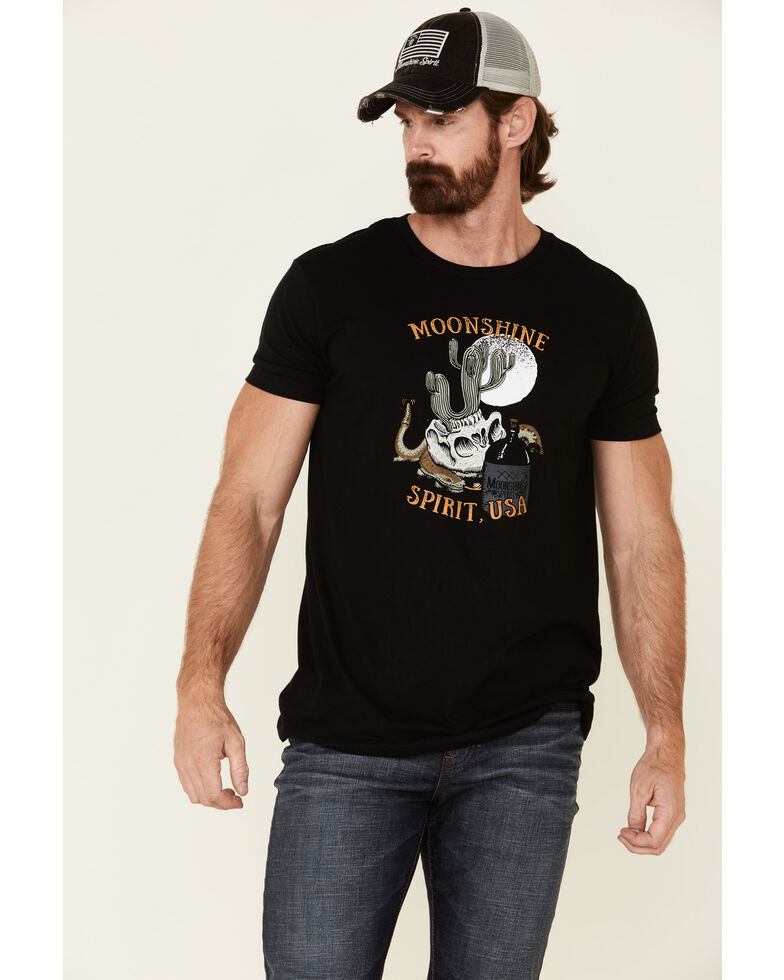 Moonshine Spirit Men's Cactus Whiskey Graphic Short Sleeve T-Shirt , Black, hi-res