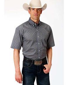 Roper Men's Amarillo Moonshadow Foulard Geo Print Short Sleeve Western Shirt , Grey, hi-res