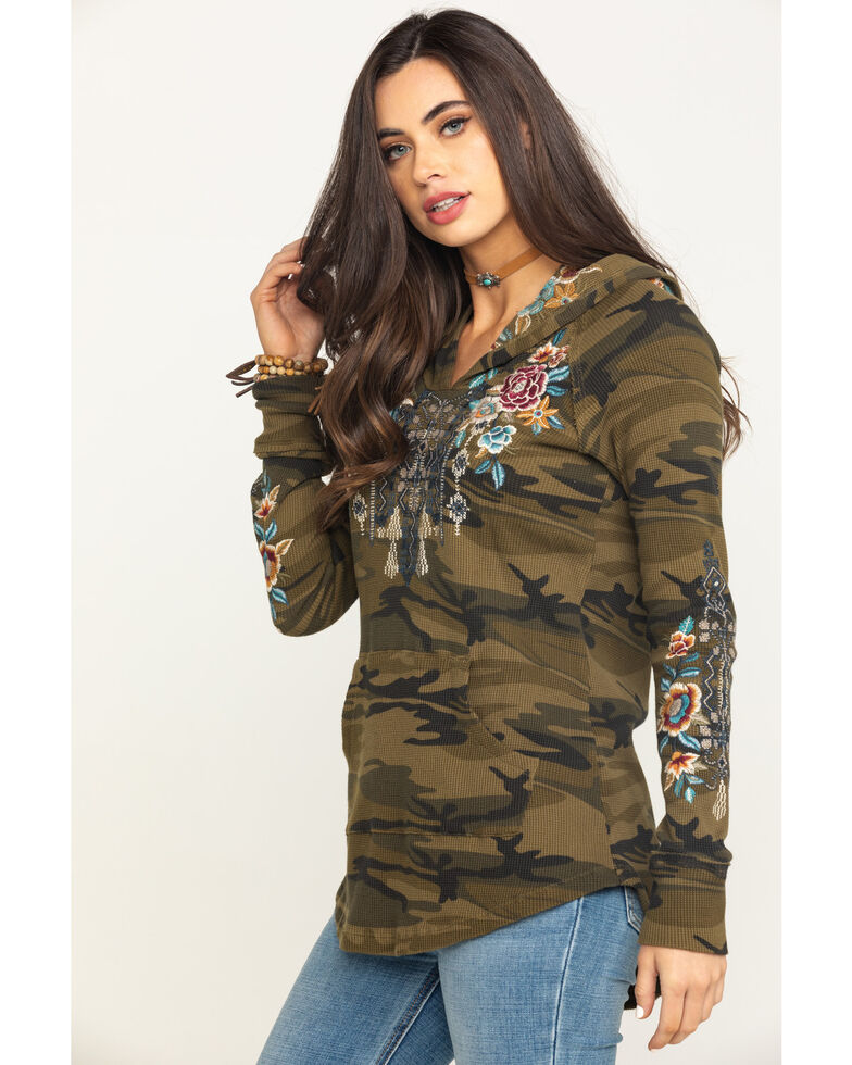 Johnny Was Women's Eleni Hooded Boho Thermal, Camouflage, hi-res