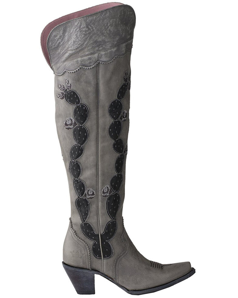 Junk Gypsy by Lane Women's Cactus Knee High Boots - Snip Toe , Grey, hi-res