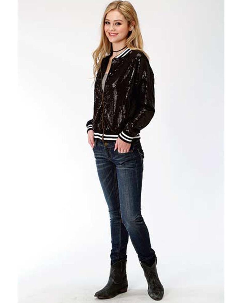 Roper Women's Black Sequin Bomber Jacket, Black, hi-res