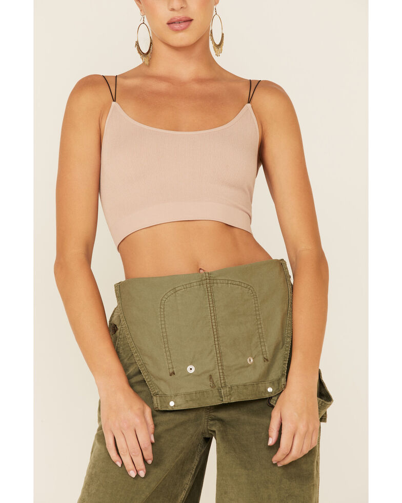 By Together Women's Seamless Rib-Knit Crop Cami , Blush, hi-res