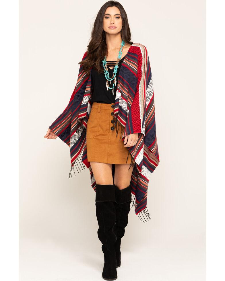 San Diego Hat Co. Women's Jacquard Woven Poncho, Multi, hi-res