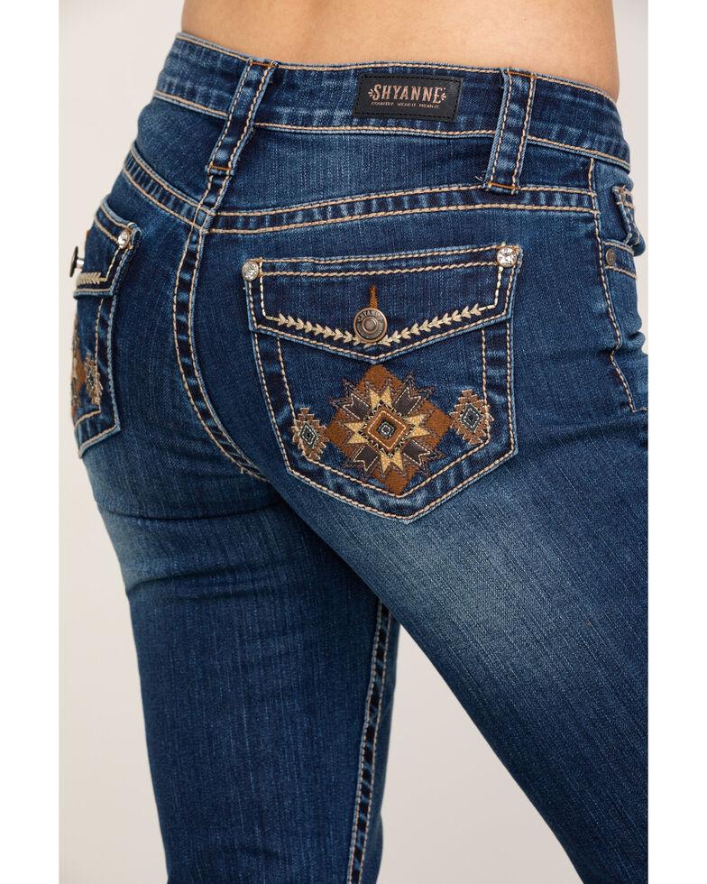 Shyanne Women's Dark Wash Aztec Mock Flap Bootcut Jeans, Blue, hi-res