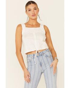 Rock & Roll Denim Women's White Lace Insert Crop Tank Top , White, hi-res