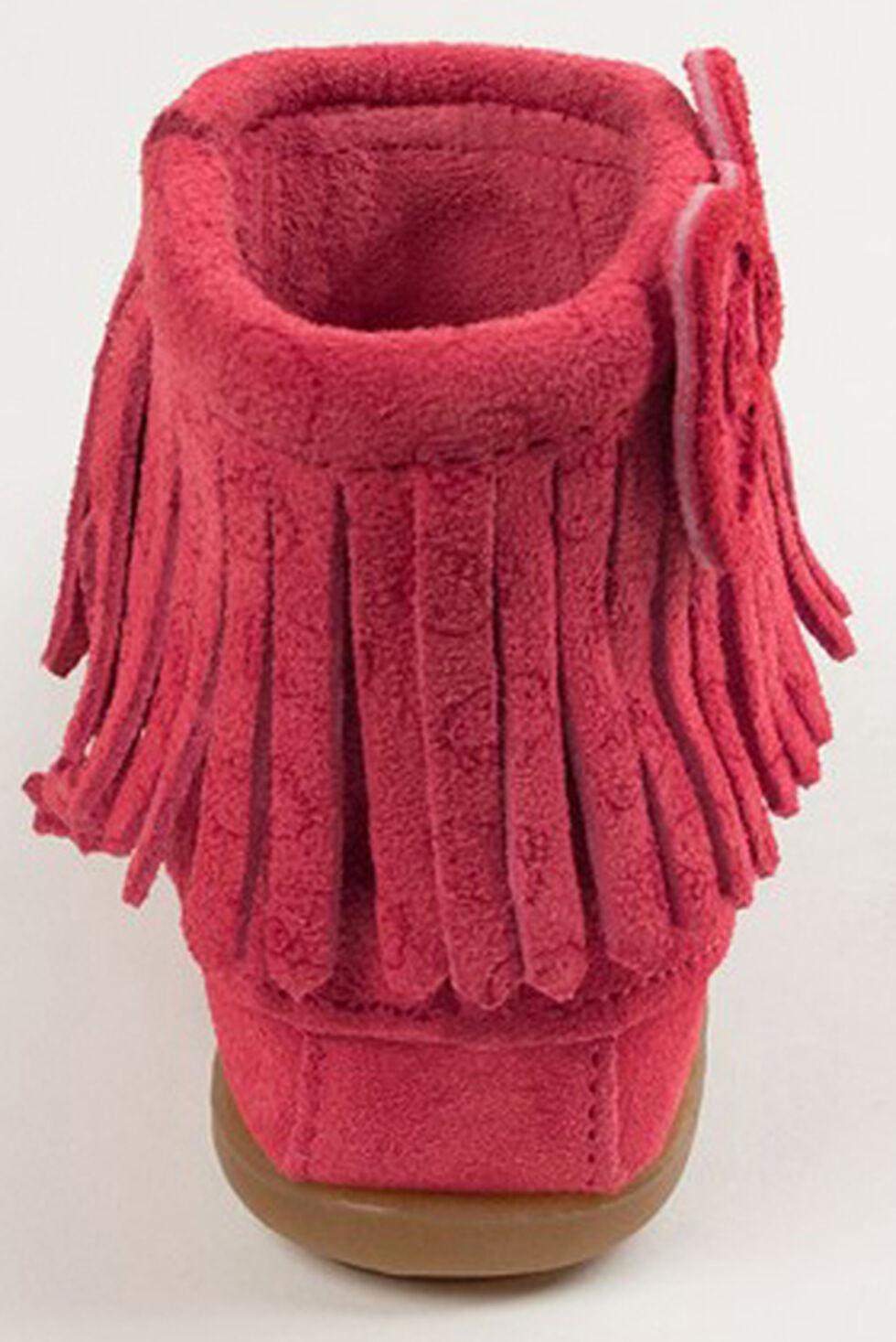 Minnetonka Girls' Hello Kitty Fringe Booties - Moc Toe, Hot Pink, hi-res