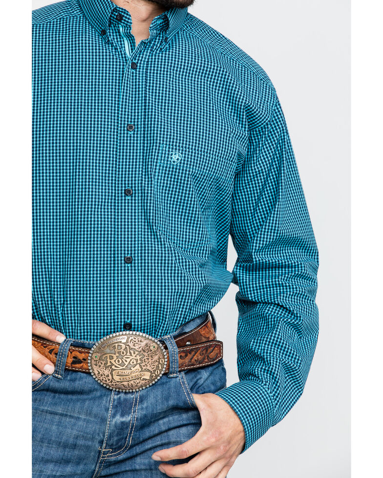 Ariat Men's Theo Small Plaid Long Sleeve Western Shirt - Big , Blue, hi-res