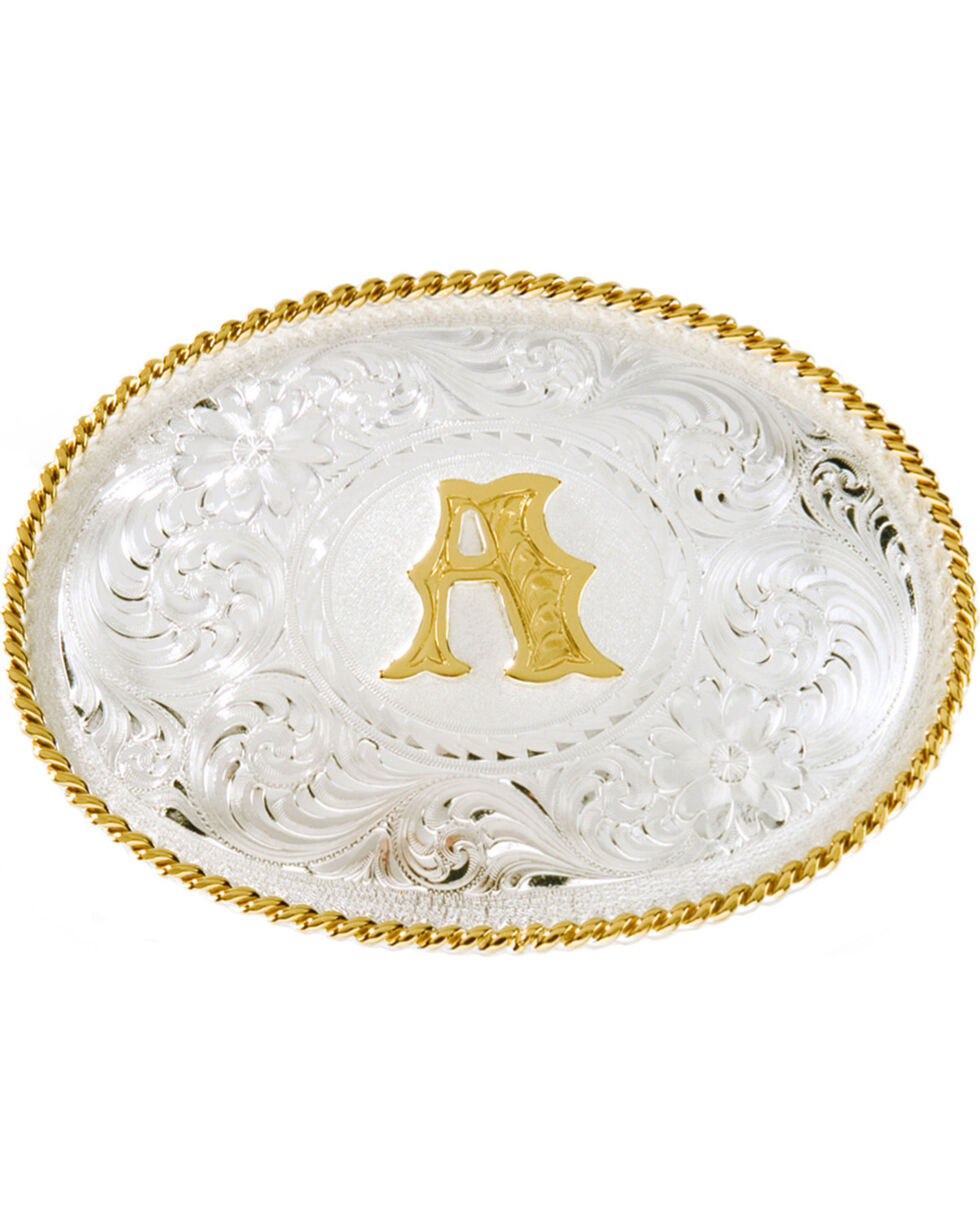 "Montana Silversmiths Initial ""A"" Buckle, Silver, hi-res"