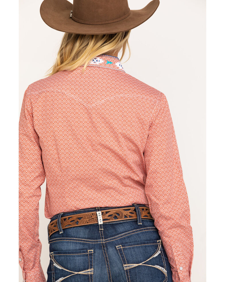 Rough Stock Women's Red Halsey Vintage Print Long Sleeve Western Shirt , Red, hi-res