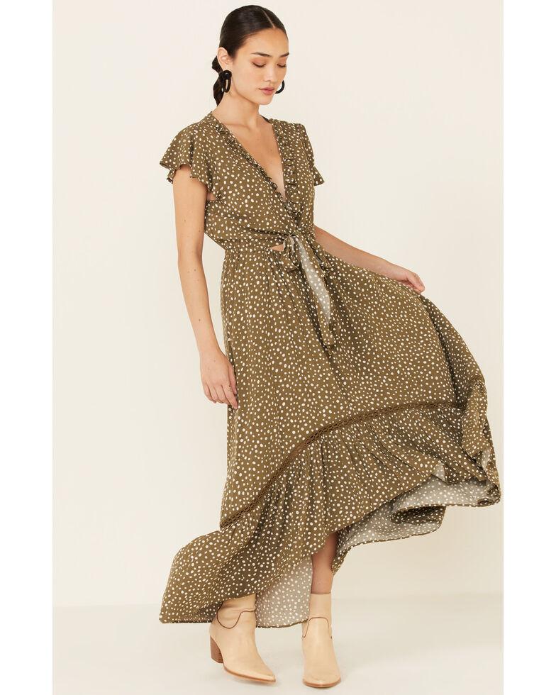 Beyond The Radar Women's Olive Dot Maxi Dress, Olive, hi-res