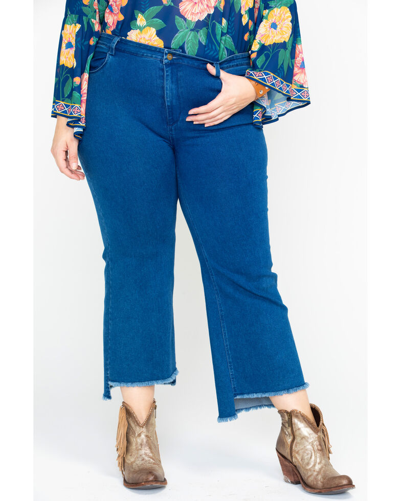 Flying Tomato Women's High Rise Capri Denim Jeans - Plus, Blue, hi-res
