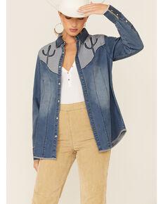 Tasha Polizzi Women's Flara Indigo Cactus Long Sleeve Shirt, Blue, hi-res