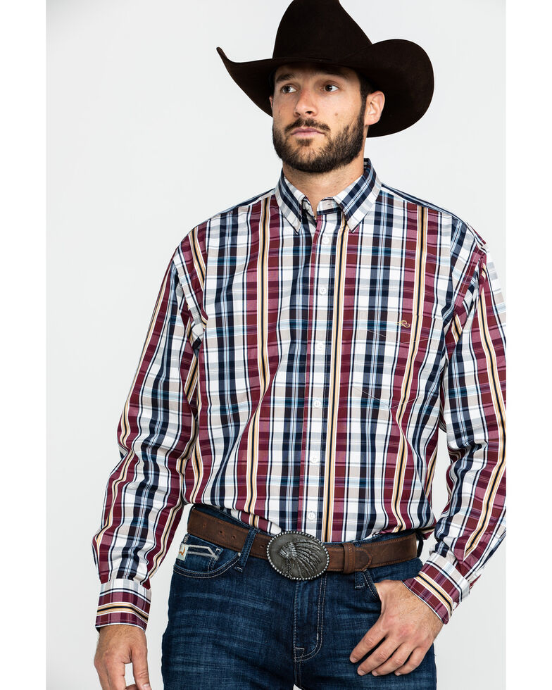 Resistol Men's Halo Med Plaid Long Sleeve Western Shirt , Red, hi-res