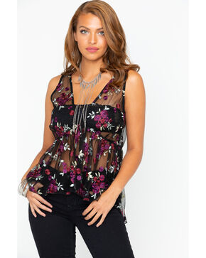 Shyanne Women's Embroidered Mesh Tiered Tank , Black, hi-res