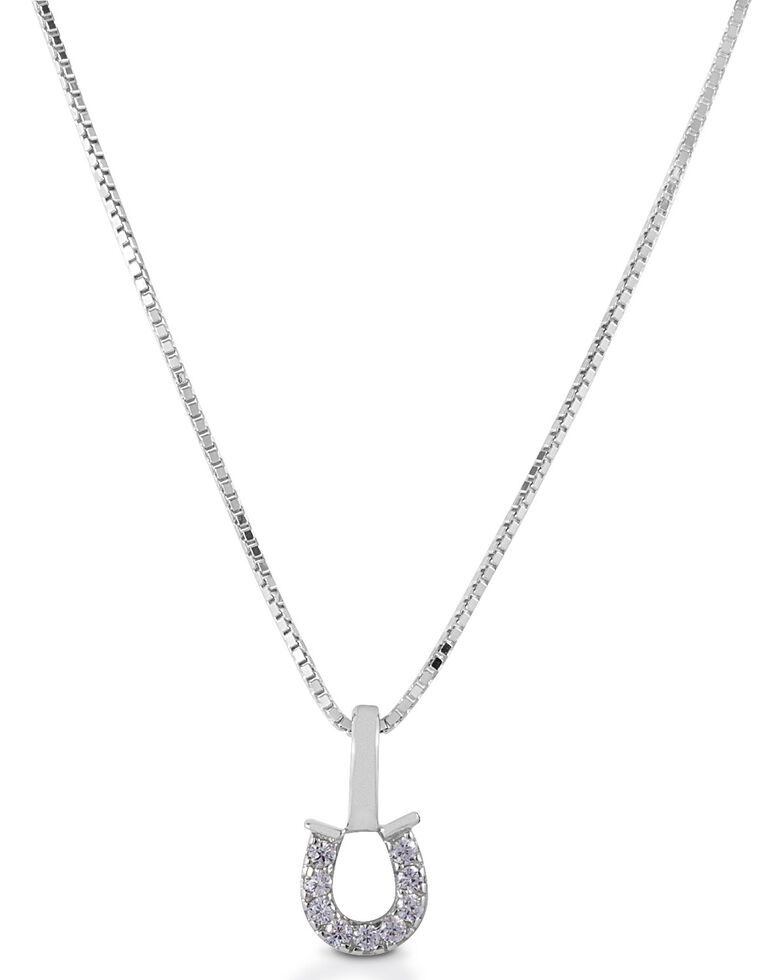 Kelly Herd Women's Clear Horseshoe Necklace , Silver, hi-res