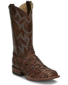 Justin Men's Marina Chocolate Exotic Pirarucu Western Boots - Wide Square Toe, Chocolate, hi-res