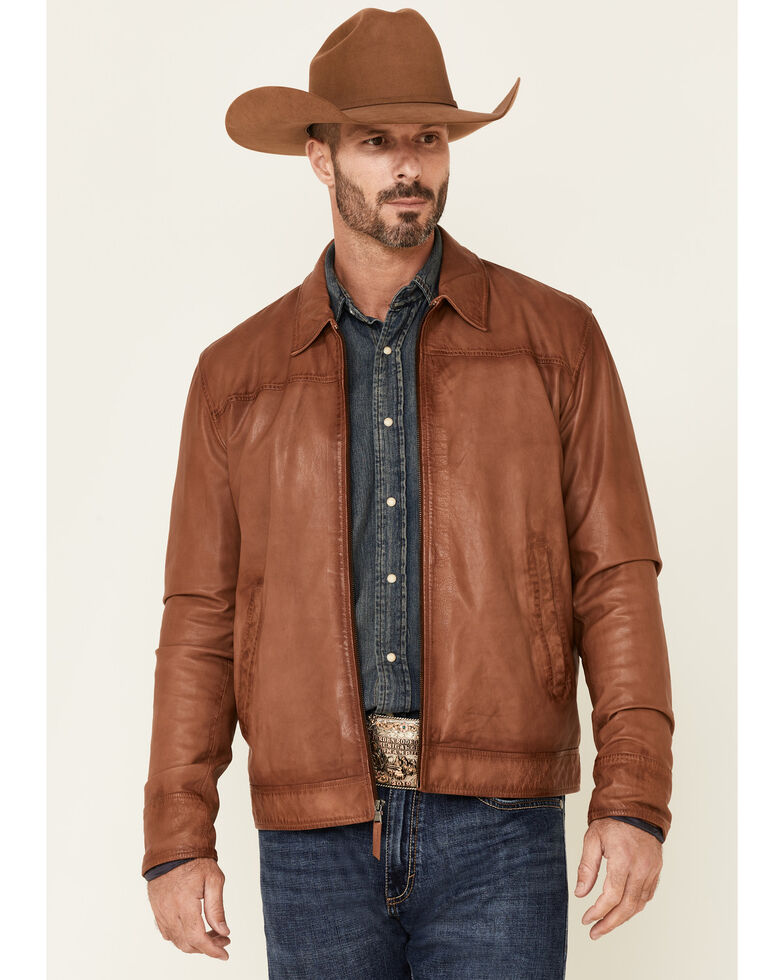 Stetson Men's Solid Caramel Zip-Front Burnished Leather Jacket , Brown, hi-res
