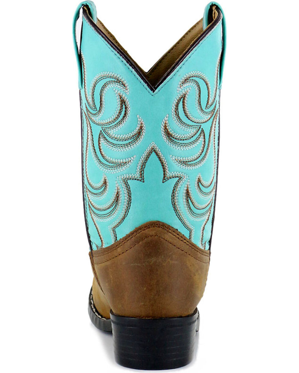 Shyanne Girls' Two Toned Embroidered Western Boots - Round Toe, Brown, hi-res