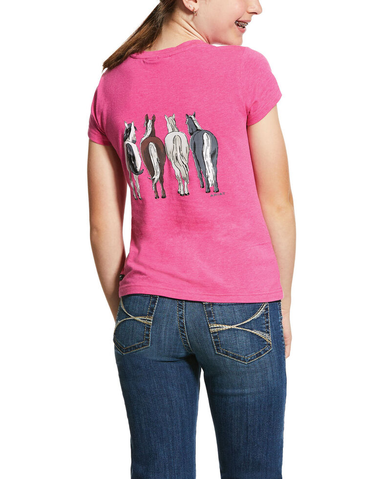 Ariat Girls' 360 Horse View Tee, Light Pink, hi-res
