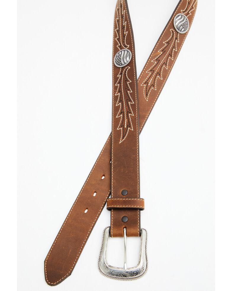 Leegin Men's Brown Caddo Western Belt, Brown, hi-res