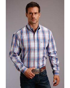 Stetson Men's Sunset Ombre Plaid Long Sleeve Western Shirt , Blue, hi-res