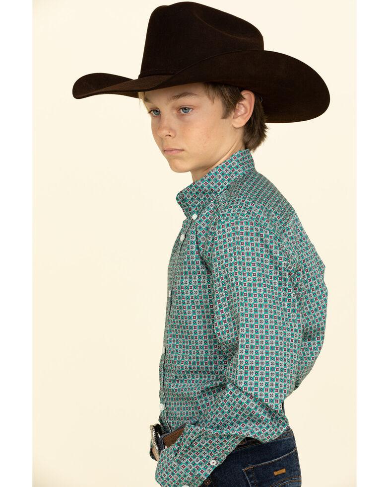 Cinch Boys' Green Geo Print Button Long Sleeve Western Shirt , Green, hi-res