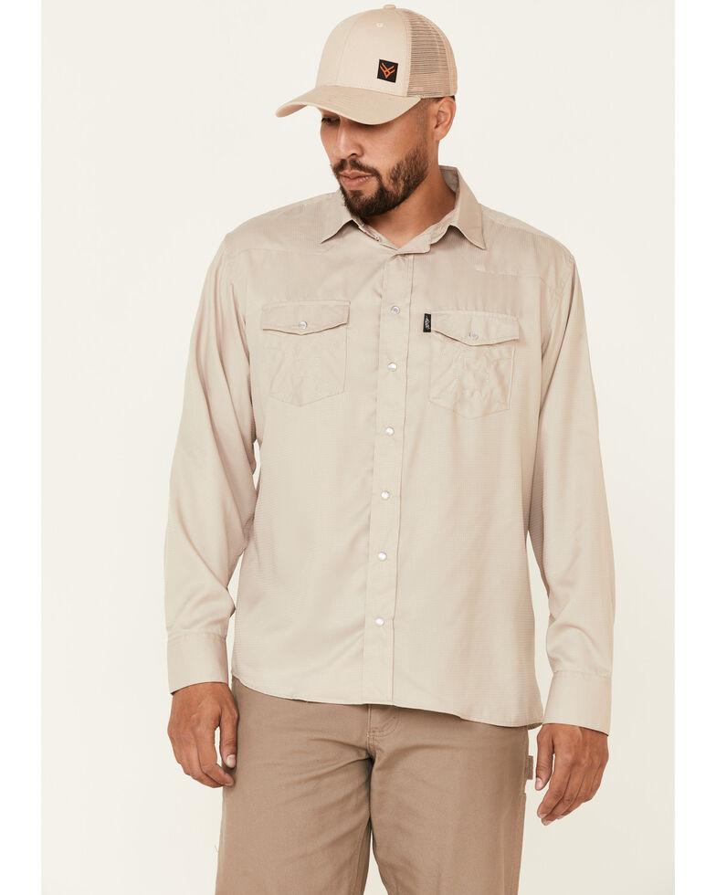 HOOey Men's Solid Tan Habitat Sol Long Sleeve Snap Western Shirt , Tan, hi-res