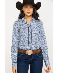 Shyanne Life Women's Blue Floral Woven Core Long Sleeve Shirt, Blue, hi-res