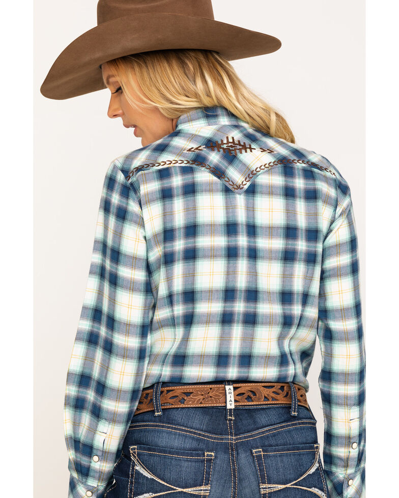 Ariat Women's Navy Plaid R.E.A.L. Snap Long Sleeve Western Shirt , Navy, hi-res
