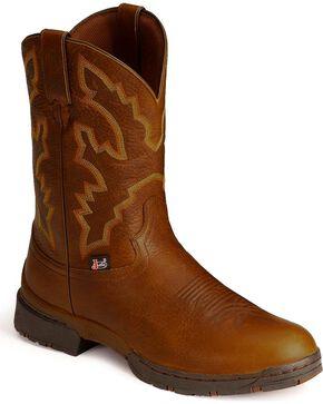 Justin Men's George Strait Twang Waterproof Cowboy Work Boots - Round Toe, Sunset, hi-res