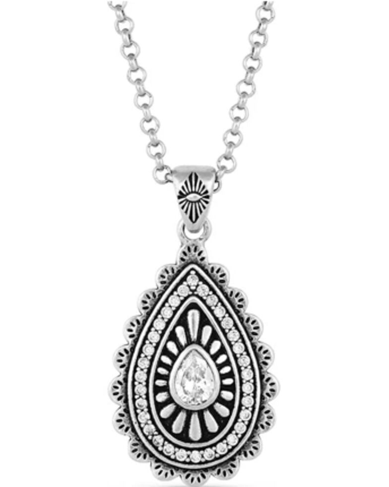 Montana Silversmiths Women's Purely & Primal Teardrop Silver Necklace, Silver, hi-res