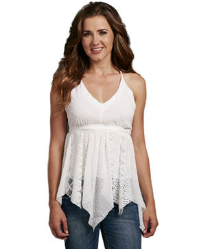 Cowgirl Up Women's Sleeveless Lace Inset Tank, White, hi-res