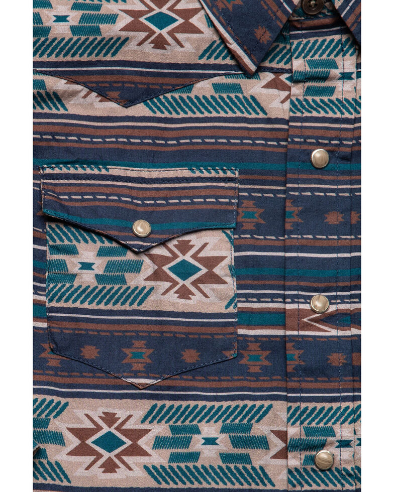West Made Boys' Cloudy Aztec Print Long Sleeve Western Shirt , Blue, hi-res