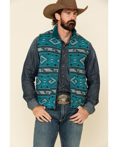 Powder River Outfitters Men's Teal Aztec Print Wool Jacquard Vest , Teal, hi-res