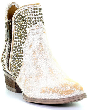 Circle G Women's Camel White Studded Booties - Round Toe, White, hi-res
