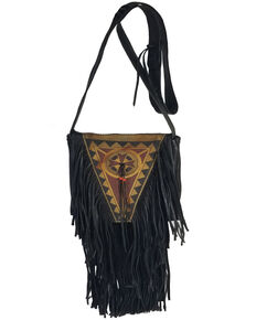 Kobler Leather Women's Black Painted Crossbody Bag, Black, hi-res