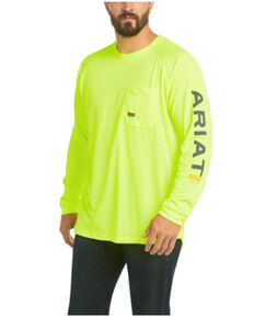 Ariat Men's Lime Rebar Heat Fighter Long Sleeve Work Pocket T-Shirt - Big , Bright Green, hi-res