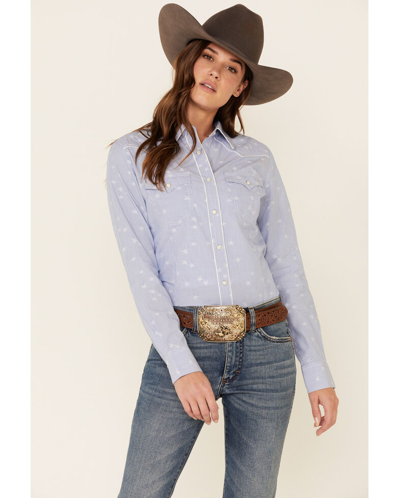 Wrangler Women's Chambray Star Print Long Sleeve Western Shirt , Blue, hi-res