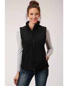 Roper Women's Black Soft Shell Bonded Fleece Lined Vest, Black, hi-res