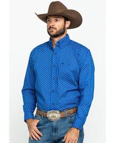 Wrangler Men's Classic Royal Blue Geo Print Long Sleeve Western Shirt , Blue, hi-res