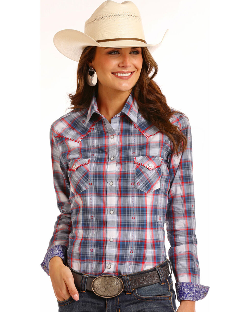 Rough Stock by Panhandle Women's Dobby Ombre Plaid Long Sleeve Shirt, Red/white/blue, hi-res