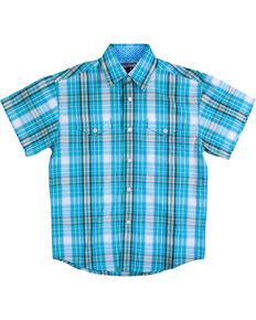 Panhandle Boys' Turquoise Short Sleeve Snap Plaid Shirt , Turquoise, hi-res