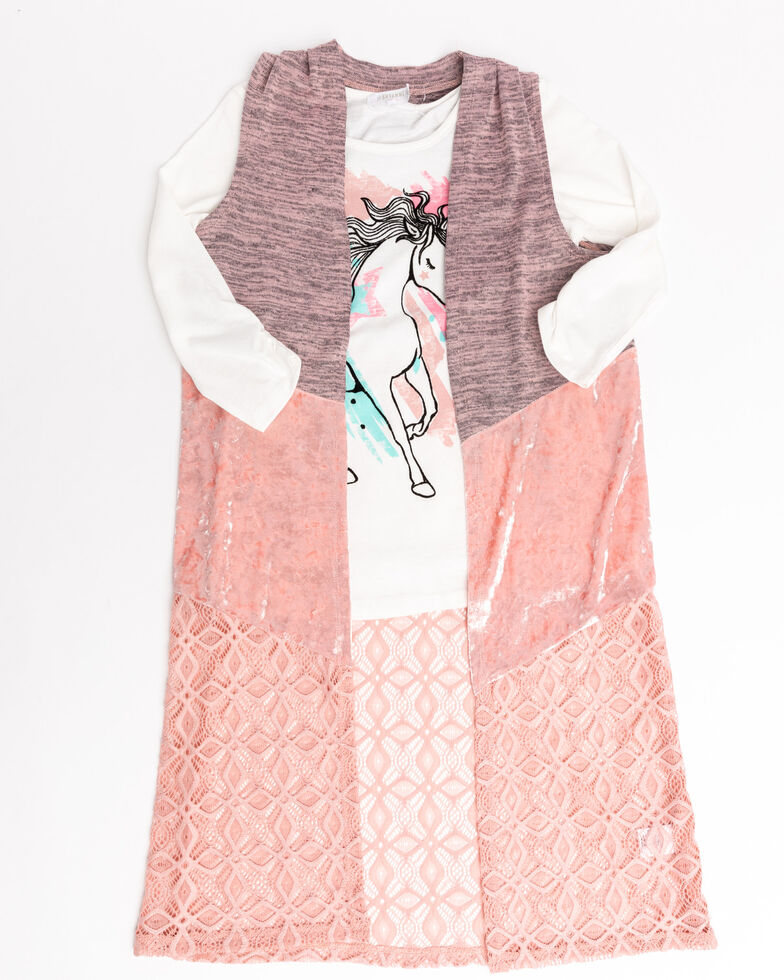 Shyanne Girls' Blush Duster & Horse Graphic Tee Set  , Blush, hi-res