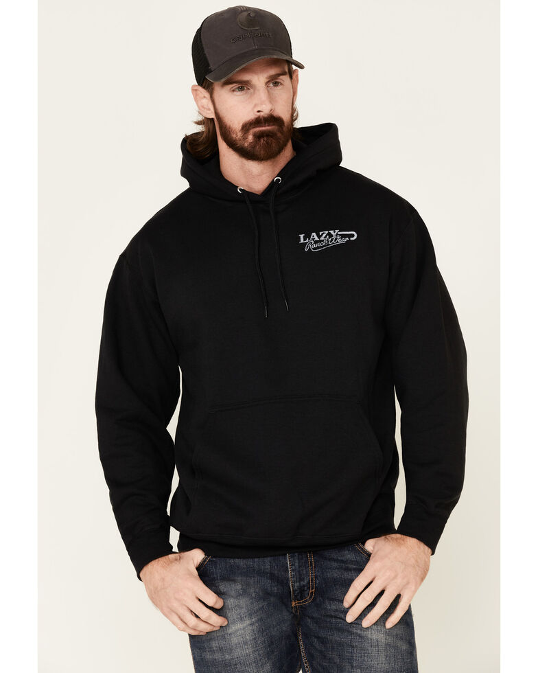 Lazy J Ranchwear Black Retro Logo Graphic Hooded Sweatshirt , Black, hi-res