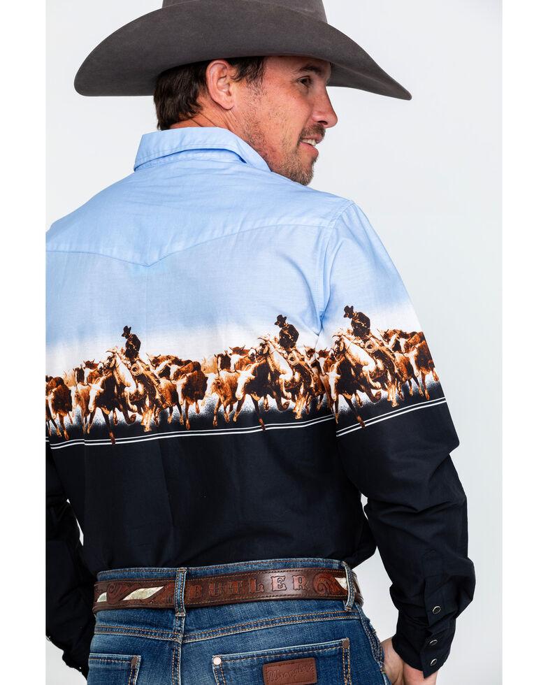 Roper Men's Black Border Print Long Sleeve Western Shirt , Black, hi-res