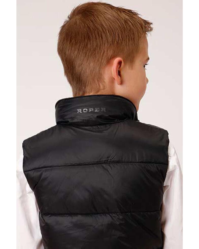 Roper Boys' Black Crushable Poly Filled Parachute Vest , Black, hi-res